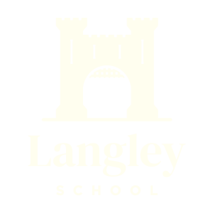 langley school logo footer white