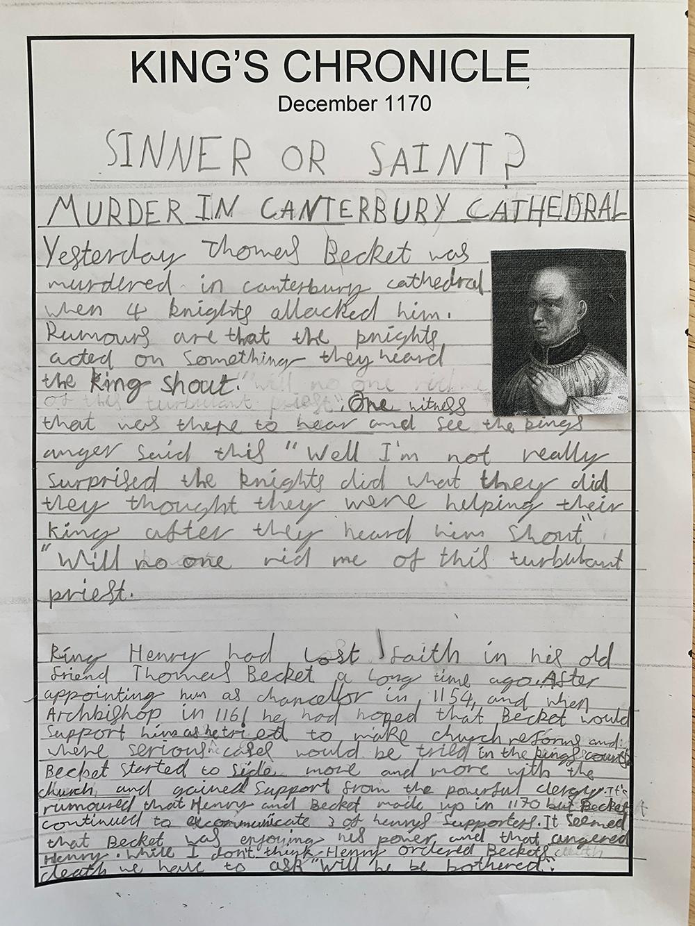 Becket Sinner or Saint Newspaper article 30 Jan 2021 at 11 14
