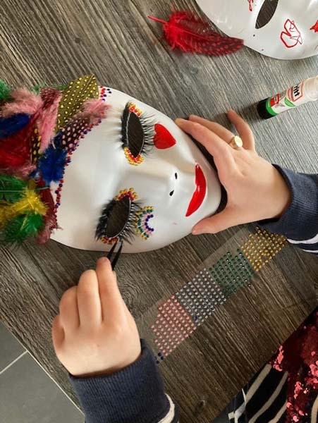Isla and Emily mask making 4