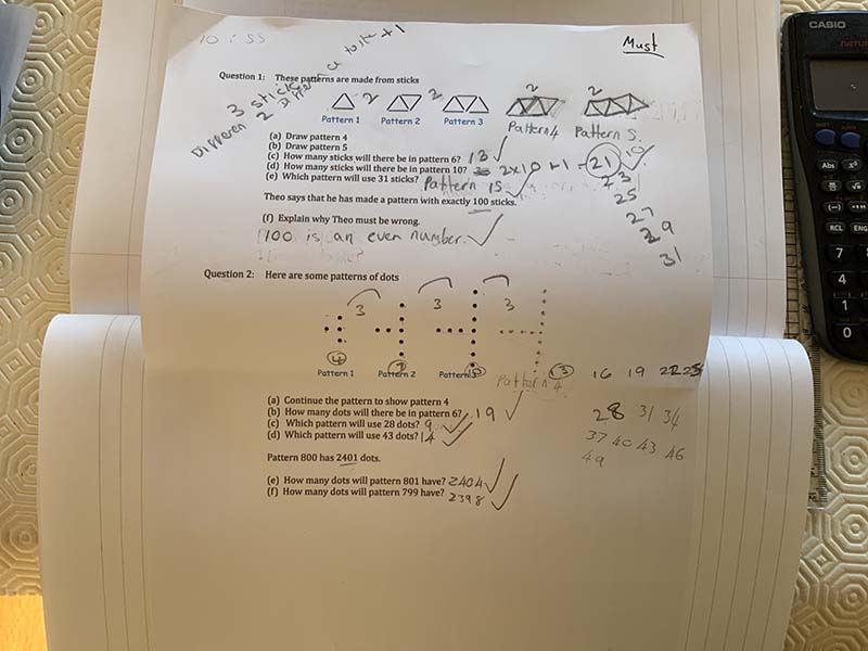Lana K Y8 Maths Sequences from Patterns 2