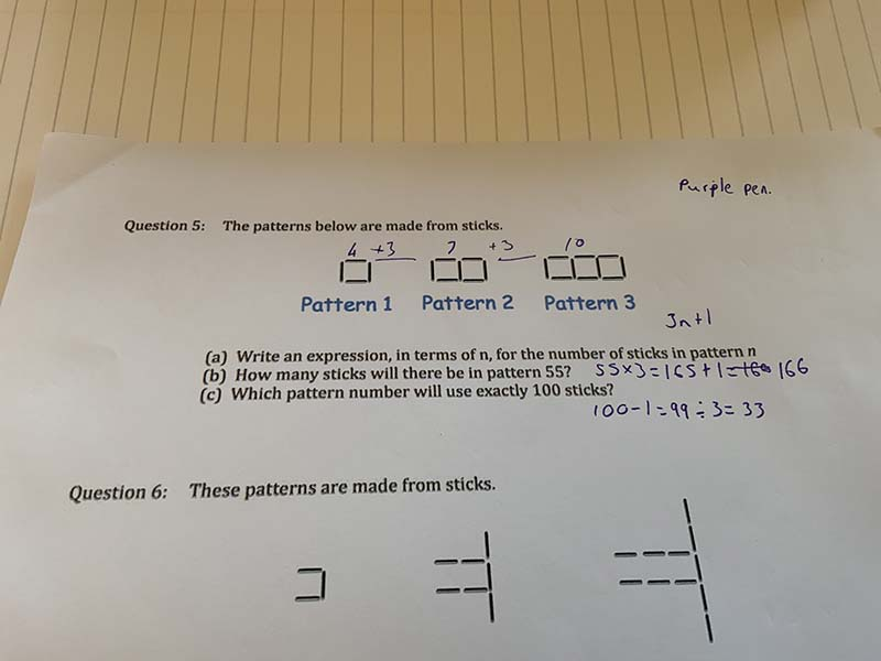 Lana K Y8 Maths Sequences from Patterns